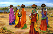 Village Scene Paintings - Rajasthani  Women Going towards a pond to fetch water by Vidyut Singhal
