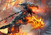 Magic The Gathering Posters - Rakdos Ragemutt Poster by Ryan Barger