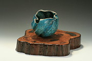 Featured Ceramics Originals - Raku Biomorphic orb by Bobbye Sansing