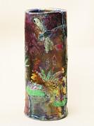 Jeanette K - Raku Dragonfly Vase
