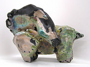 Animal Sculpture Sculpture Posters - Raku Green Poster by Valerie Freeman