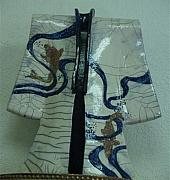 Japanese Ceramics - Raku Kimono with Koi Fish by Linda Andrews