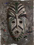 Green Ceramics Posters - Raku Mask Poster by Andre Pillay