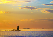 Sunrise Lighthouse Framed Prints - Ram Island Lighthouse Casco Bay Maine Framed Print by Diane Diederich