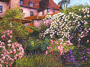 Manor Painting Posters - Rambling Rose Impressions Poster by David Lloyd Glover