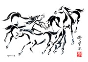 Colts Paintings - Rambunctious by Bill Searle