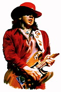 Guitar Hero Metal Prints - Rampage  Stevie Ray Vaughan Metal Print by Iconic Images Art Gallery David Pucciarelli