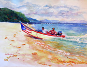 Puerto Rico Painting Posters - Rampeando at Crashboat Beach Aguadilla Puerto Rico Poster by Estela Robles Galiano