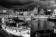 Port Kent Framed Prints - Ramsgate harbour mono Framed Print by Ian Hufton