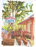Cards Vintage Painting Prints - Ranch-House-Cafe-in-Lone-Pine-CA Print by Carlos G Groppa