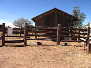 Split Rail Fence Framed Prints - Ranch Outbuilding Framed Print by Ardys Lurtsema