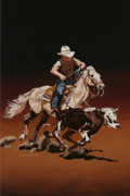 Team Paintings - Ranch Ropin by Hugh Blanding