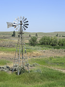 Antique Fan Prints - Ranch Windmill - Eastern Washington Print by Daniel Hagerman