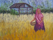 India Pastels Metal Prints - Rancha Villager Metal Print by Patricia Beebe
