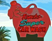 Car Wash Posters - Rancho Super Car Wash Poster by Charlette Miller