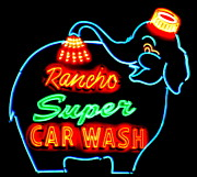 Car Wash Posters - Rancho Super Car Wash Poster by Randall Weidner