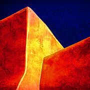 Taos Metal Prints - Ranchos in Orange and Yellow Metal Print by Carol Leigh