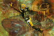 Green Bay Prints - Randall Cobb 18 Green Bay Packers Print by Jack Zulli
