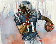 Wide Receiver Mixed Media Prints - Randy Moss Print by Michael  Pattison