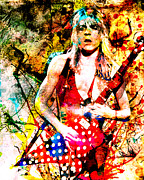 Rock N Roll Painting Prints - Randy Rhoads - Ozzy Osbourne Print by Ryan Rabbass