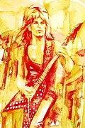 Rock Guitar Player Posters - RANDY RHOADS PLAYING the GUITAR portrait Poster by Fabrizio Cassetta