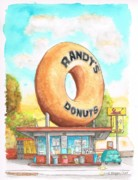 Watercolors Painting Originals - Randys Donuts in Los Angeles - California by Carlos G Groppa