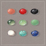 Color Green Jewelry Posters - Range Of Ornamental Stones Poster by Marie Esther NC