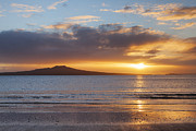 Moody Sky Posters - Rangitoto Sunrise Auckland New Zealand Poster by Colin and Linda McKie