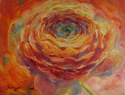 Ranunculus Paintings - Ranunculus at Twilight by Shirley Sakatani Skifstad