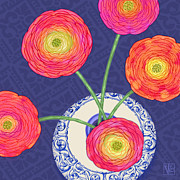 Val Lesiak Framed Prints - Ranunculus on Blue Framed Print by Valerie  Drake Lesiak
