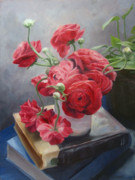 Ranunculus Paintings - Ranunculus on Books by Connie Schaertl