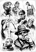 Group Portraits Drawings Framed Prints - Rap group drawing art sketch poster Framed Print by Kim Wang