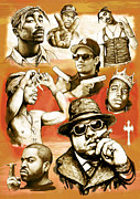 Rap Mixed Media Framed Prints - Rap group drawing pop art sketch poster Framed Print by Kim Wang