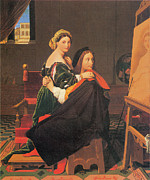 Ingres Paintings - Raphael and the Fornarina by Jean-Auguste-Dominique Ingres