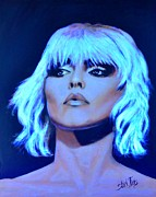 Singer Songwriter Paintings - Rapture -Blondie Showing Neon Effects by Shirl Theis
