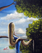 Cloudy Day Paintings - Rapunzel by Shawna Erback by Shawna Erback