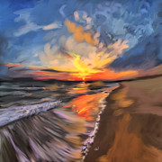 Relax Paintings - Rare California Sunset by Angela A Stanton