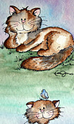 Pictures Of Cats Drawings Prints - Rascal and Pal Print by Danise Abbott