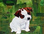 Puppy Mixed Media Originals - Rascal by Julie  Mortillaro