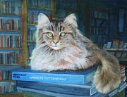 Commission Work Framed Prints - Rascal the bookstore cat Framed Print by Cheryl Hunt