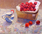 Small Basket Posters - Raspberries Poster by Dorothy Boyer