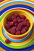 Raspberry Photo Framed Prints - Raspberries in yellow bowl on plate Framed Print by Garry Gay