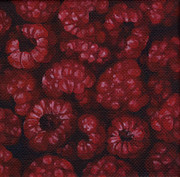 Black Berries Painting Framed Prints - Raspberries Framed Print by Natasha Denger