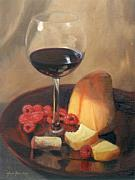 Wine Glass Paintings - Raspberries Wine and Cheese by Anna Bain