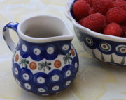 Pottery Pitcher Art - Raspberries with Cream by Carol Groenen