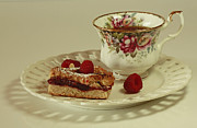 Raspberry Almond Square And Herbal Tea  Print by Inspired Nature Photography By Shelley Myke