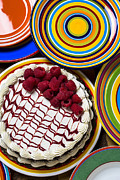 Dishware Posters - Raspberry cake Poster by Garry Gay