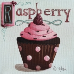 Cupcake Art Posters - Raspberry Chocolate Cupcake Poster by Catherine Holman