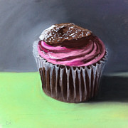 Cupcake Paintings - Raspberry Crisp Cupcake by Cristine Kossow