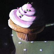 Cupcake Paintings - Raspberry Cupcake by Cristine Kossow